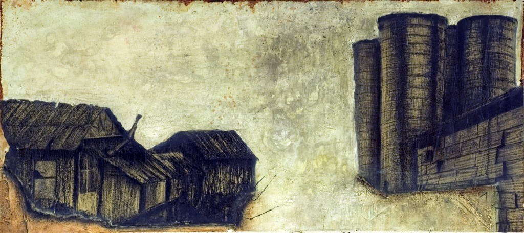 2009, 1' X 2 1/2', oil and lithograph on panel