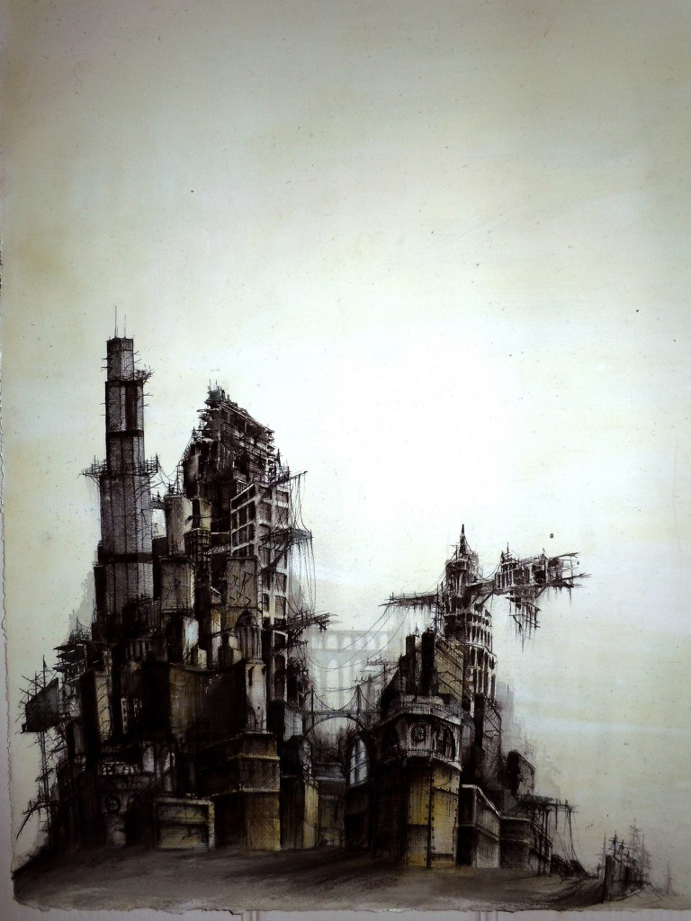 "2011, 14"" X 38"", ink wash, ballpoint pen on paper *no longer available*"