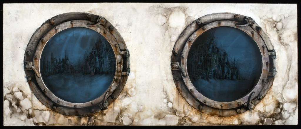 "2014, 9 3/4"" X 23 1/2"" Oil, glass and radiographs on panel"