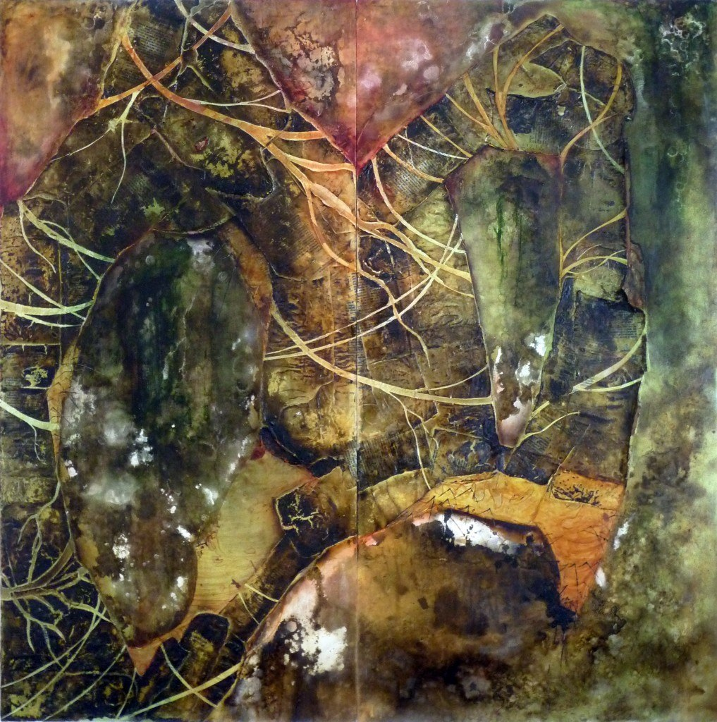 2010, 4' X 4', oil and mixed media on panels *no longer available*